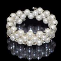 Elegancka kryształowa imitacja bransoletka perłowa wielowarstwowa rozciągliwa bransoletka perłowa bransoletka perłowa dla kobiet