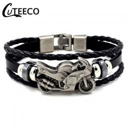 CUTEECO moda skórzana bransoletka w stylu Vintage mężczyźni motocykl wielowarstwowa pleciona osnowa bransoletka biżuteria punkow