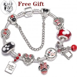 Kryształowe Mickey koraliki srebrne Dangles Charm bransoletki bransoletki dla kobiet dzieci z czerwonym kryształem delikatna bra