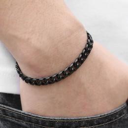 Spersonalizowane 3-11mm męska bransoletka czarny stal nierdzewna kubański link Chain bransoletki biżuteria męska prezenty hurtow
