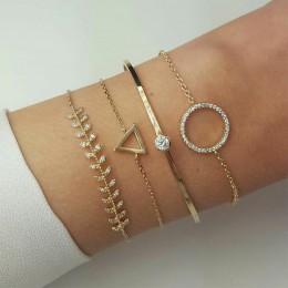 Urok 4 sztuk/zestaw moda damska kryształ trójkąt koło liść łańcuch złoty zestaw bransoletek pocałunek żona wesele biżuteria