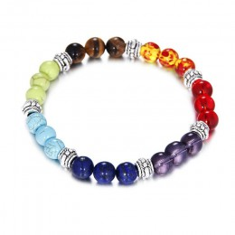 7 Chakra moda Healing bransoletka z paciorkami naturalny kamień lawowy koraliki w kolorze tiger eye bransoletka 8MM dla kobiet m