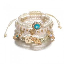 Tocona etniczna ręka serce oko regulowany wisiorek warstwowy zestaw bransoletek dla kobiet koraliki bransoletka sznurkowa branso
