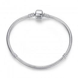 Oryginalny 100% 925 Sterling Silver bransoletka z koralików urok serce śnieżynka Rose wąż łańcuch podstawowe bransoletki Pan kob