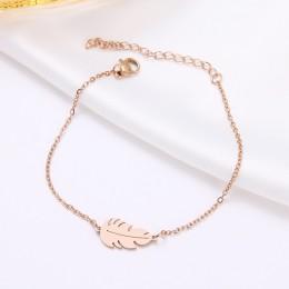 DOTIFI bransoleta ze stali nierdzewnej dla kobiet Feather Man złoto i różowe złoto kolor biżuteria zaręczynowa Pulseira Feminina