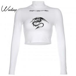 Weekeep nadruk ze smokiem z golfem koszulka z długim rękawem kobiety biały wiązane przycięte Streetwear tshirt wiosna jesień sty