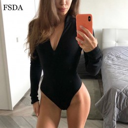 FSDA zapinane na zamek kobiety z długim rękawem biały Sexy body czarny jesień zima sweter z golfem body na ramiączkach w stylu c