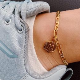 Spersonalizowane sześciokątne alfabet nogi bransoletki dla kobiet biżuteria na stopy ze stali nierdzewnej stopy łańcucha prezent