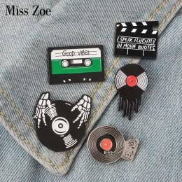 Punk miłośnicy muzyki emalia Pin dobre wibracje taśma DJ gramofon odznaka broszka przypinka dżinsy koszula fajna gotycka biżuter