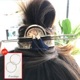 Oryginalna konstrukcja Alloy okrągły wierzchołek szpilki do włosów kok klatka minimalistyczna spinka do koka klatka do włosów ki
