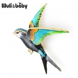 Wuli & Baby emalia latająca jaskółka broszka przypinki dla kobiet zwierząt ptak Broche biżuteria prezent
