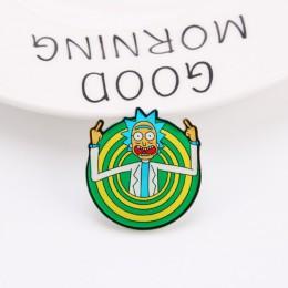 Ikony kreskówek styl Rick i Morty pin Genius szalony naukowiec odznaka przyciski broszka Anime miłośników koszula dżinsowa przyp