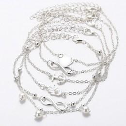 5 sztuk Retro perła serce nieskończoność kostki bransoletka na kostkę zestaw bohema srebrny stóp bransoletki plażowe na kostkę k