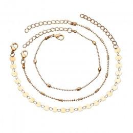 GUVIVI okrągły zroszony czeski Anklet dla kobiet akcesoria złote warstwy liść boso sandały stóp bransoletka na nogę biżuteria pr