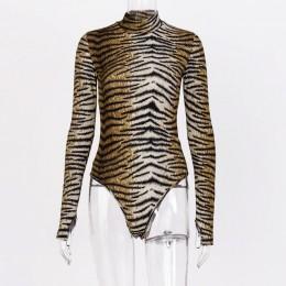 Hugcitar 2019 tygrys druku sexy bodycon body jesień zima kobiety club streetwear leopard party stroje body