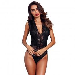 SEBOWEL Sexy czarny/czerwony/biały bez rękawów koronkowe Body kobiety głębokie V Hollow-out Body kobiecy przezroczysty Bodycon B