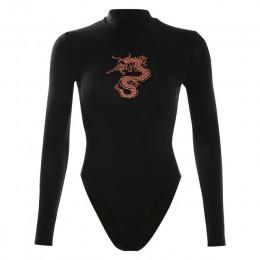 Nadruk ze smokiem z długim rękawem body kobiety Sexy czarny Bodycon Romper body wiosna jesień O-neck Streewear body