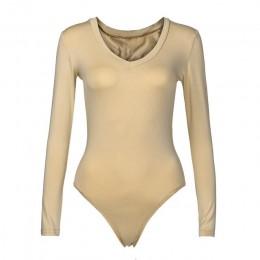 2020 nowych modnych kobiet jednolity kolor dekolt w serek z długim rękawem Plunge topy seksowny kombinezon gorąca sprzedaż Skinn