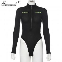 Simenual Neon Letter Print sportowe damskie body z długim rękawem Zipper odzież sportowa jesień 2019 trening Fitness moda body