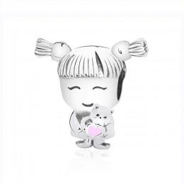 925 srebro Charms różowe serce opatrzone koralikami Fit oryginalna bransoletka pandora DIY ładna dziewczyna i chłopiec urok kobi