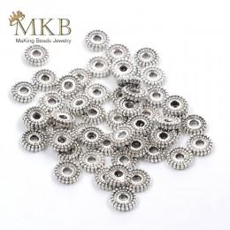 Sprzedaż hurtowa 100 sztuk metalowe koraliki dystansowe 6mm tybetańska srebrna podkładka dystansowa kule okrągłe na komponenty d