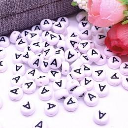 100 sztuk/partia 7x4mm 26 koraliki z literami okrągły kształt koraliki litera alfabetu Charms dla Make biżuteria akcesoria
