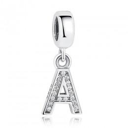 BELAWANG 925 srebro koraliki z literami fit Pandora Charms srebro 925 oryginalny kryształ alfabet A-Z zawieszka w kształcie lite