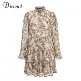 DICLOUD wzór w cętki na szyję szyfonowa sukienka dla kobiet 2020 wiosna zima z długim rękawem mini impreza sukienka seksowna odz