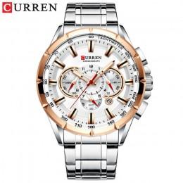 CURREN nowy swobodny zegarek sportowy chronograf męski pasek ze stali nierdzewnej zegarek duża tarcza zegarki kwarcowe ze świecą