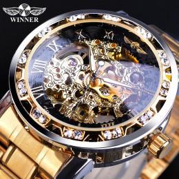 Zwycięzca złote zegarki klasyczny zegar Rhinestone rzymski analogowy męski szkielet zegary automatyczny mechaniczny zegarek na p