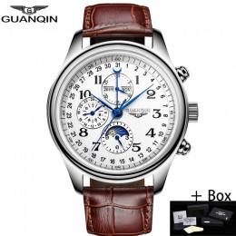 GUANQIN automatyczne Sapphire mechaniczne zegarki męskie Top marka luksusowe wodoodporny kalendarz data zegarek z paskiem skórza