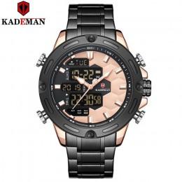 KADEMAN nowa piłka nożna Inspire Sport zegarek luksusowa moda męska stalowe zegarki TOP marka podwójny ruch LCD zegarek męski Re