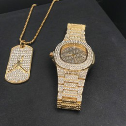 Luksusowy złoty mężczyzna zegarek i naszyjnik Combo zestaw mężczyźni Hip Hop złoty srebrny naszyjnik łańcuch Ice Out kubański ze