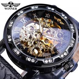 Zwycięzca czarnego złota Retro świetliste dłonie moda diament wyświetlacz mężczyzna mechaniczny szkielet zegarki Top marka ekskl