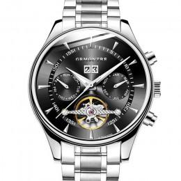 Szkielet mechaniczny zegarek z tourbillonem mężczyźni automatyczne kolczyki classic rose złoty skórzany mechaniczne zegarki na r
