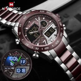 NAVIFORCE męski zegarek cyfrowy LED Sport wojskowy mężczyzna kwarcowy zegarek męski Luminous wodoodporny zegar zegarki Relogio M