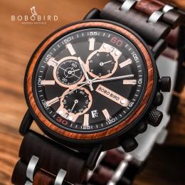 BOBO ptak drewniany zegarek Relogio Masculino mężczyźni Top marka luksusowe stylowe Chronograph zegarki wojskowe w drewnianym pu