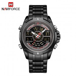 Nowy zegarek NAVIFORCE mężczyźni wojskowy Sport LED cyfrowy kwarcowy zegarek data 30M wodoodporny stalowy pasek zegar Relogio Ma