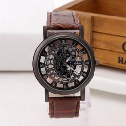 Zegarek 2020 reloj szkielet Wrist Watch styl męski skórzany pasek mężczyźni kobiety zegarki kwarcowe Unisex zegarki z otworami r