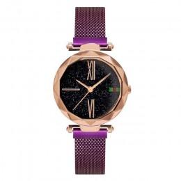 Luksusowe różowe złoto kobiet zegarki minimalizm Starry sky klamra magnetyczna moda Casual kobieta zegarek wodoodporny cyfra rzy
