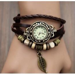 Multicolor wysokiej jakości kobiety prawdziwej skóry rocznika zegarek kwarcowy zegarki na rękę z paskiem liść prezent boże narod