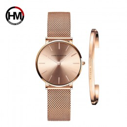Zegarek damski 1 zestaw bransoletka japonia mechanizm kwarcowy prosty wodoodporny różany złoty siatka ze stali nierdzewnej damsk