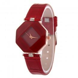 Kobiety zegarki Gem Cut geometria kryształ skórzany zegarek kwarcowy moda sukienka zegarek panie prezenty zegar Relogio Feminino