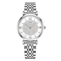 Gypsophila zegarki damskie w kształcie diamentu moda srebrna okrągła tarcza pasek ze stali nierdzewnej zegarek kwarcowy na rękę