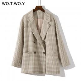 WOTWOY dwurzędowy Plaid Blazer kobiety Khaki kieszeń z długim rękawem biurowa, damska marynarka jesienna kurtka damska odzież wi