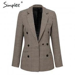 Simplee Fashion double breasted plaid blazer damska z długim rękawem biurowa, damska marynarka 2018 jesienna kurtka damska odzie