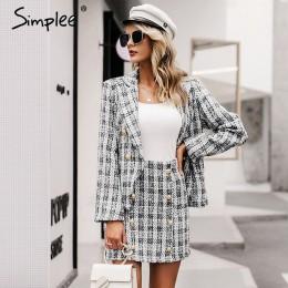 Simplee Tweed plaid dwuczęściowy damski kostium ze spódnicą casualowe w stylu streetwear garnitury damskie zestawy blezerów eleg