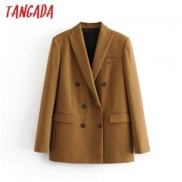 Tangada damska brązowa solidna dwurzędowy garnitur kurtka designerska biurowa, damska marynarka kieszenie bluzki do pracy 3H42