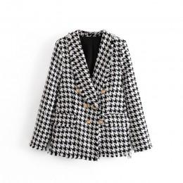 Tangada kobiety grube tweedowe płaszcze kurtka z długim rękawem kieszeń na guzik 2019 panie elegancki jesień płaszcz zimowy 3H34