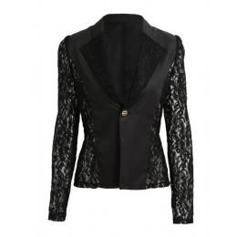 2019 elegancki Plus Size kobiety Blazer czarny biały z długim rękawem drążą wszystko mecz kurtka damska koronki Patchwork biuro